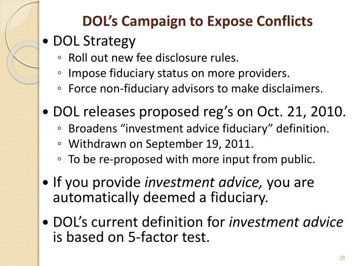 DOL's Campaign to Expose Conflicts