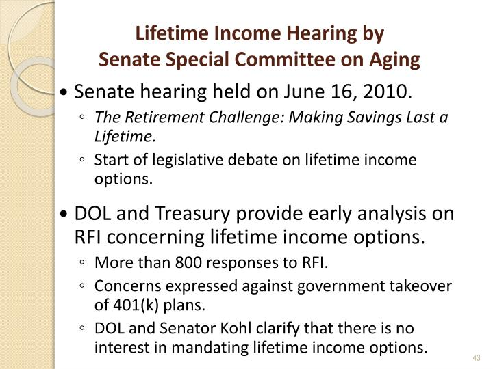 Lifetime Income Hearing by