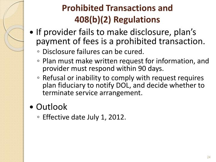 Prohibited Transactions and