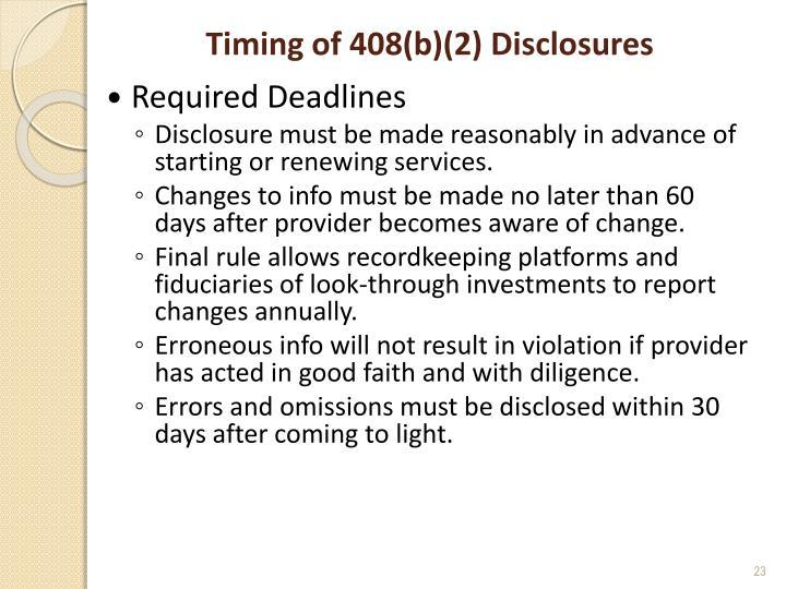 Timing of 408(b)(2) Disclosures