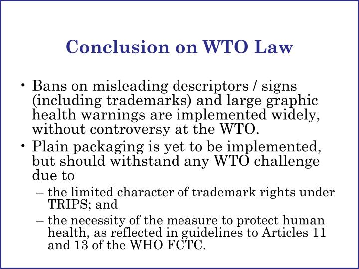 Conclusion on WTO Law