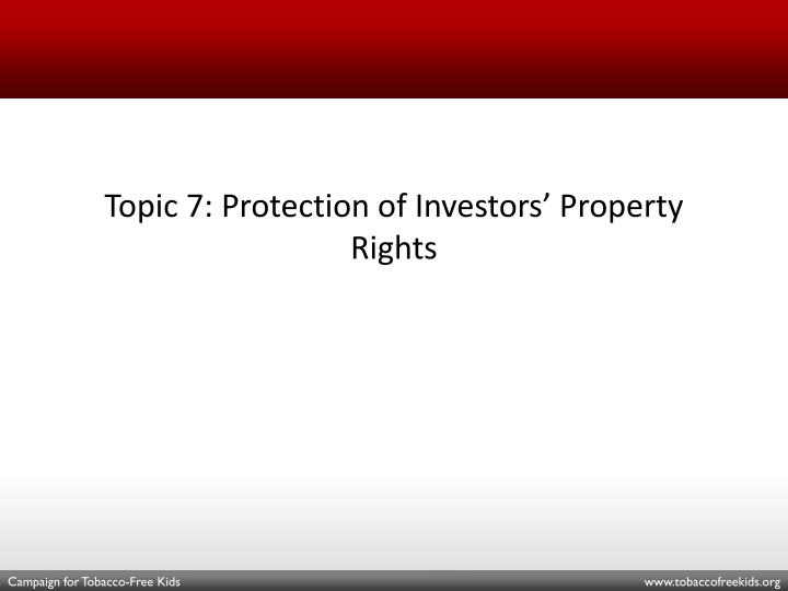 Topic 7: Protection of Investors' Property Rights