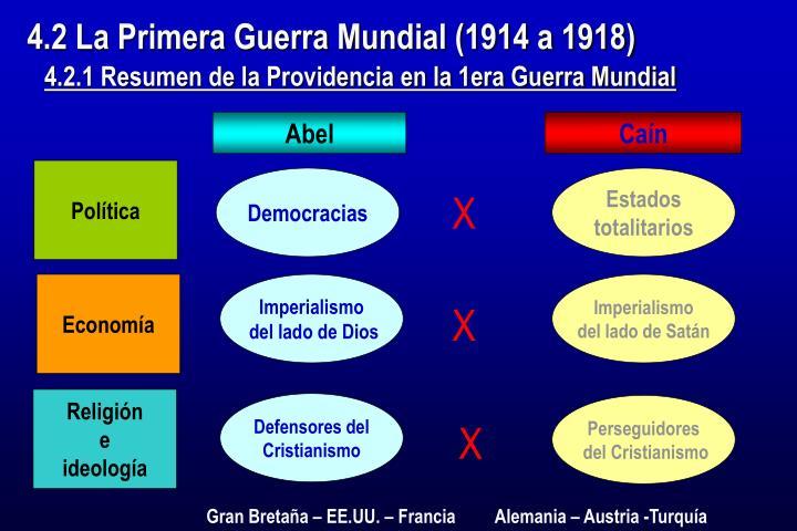 4.2 La Primera Guerra Mundial (1914 a 1918)