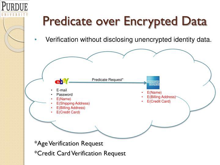 Predicate over Encrypted Data