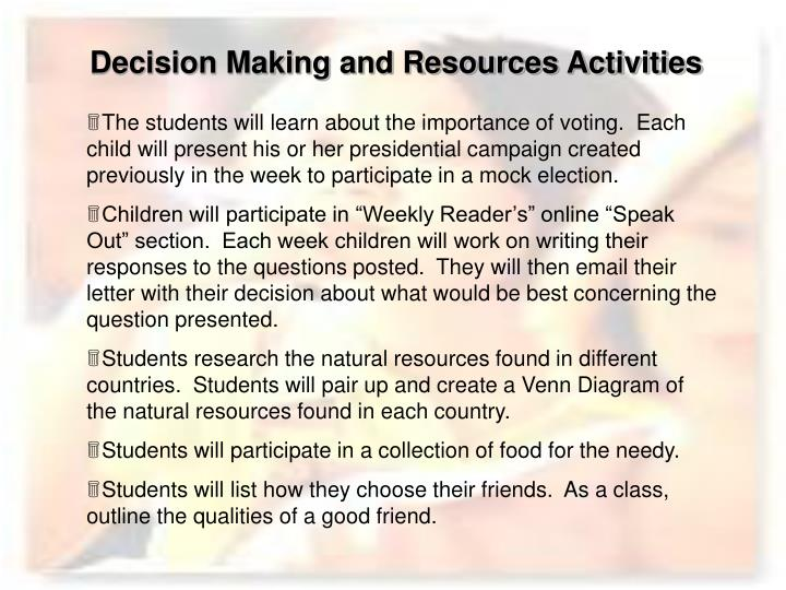 Decision Making and Resources Activities
