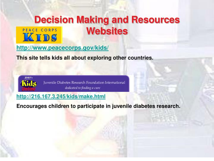 Decision Making and Resources Websites