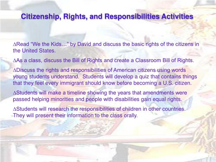 Citizenship, Rights, and Responsibilities Activities
