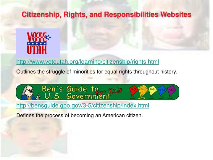 Citizenship, Rights, and Responsibilities Websites