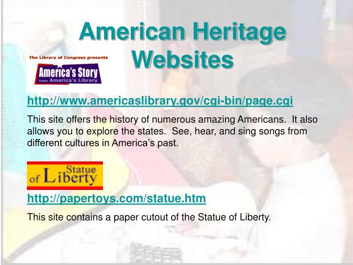 American Heritage Websites