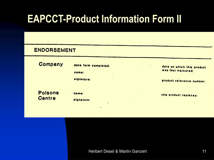 EAPCCT-Product Information Form II