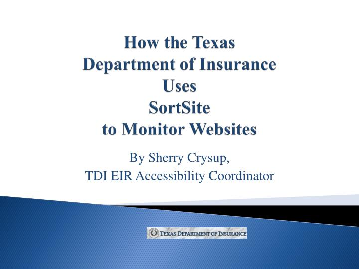 PPT - How the Texas Department of Insurance Uses SortSite to Monitor