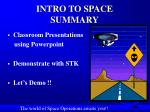 intro to space summary