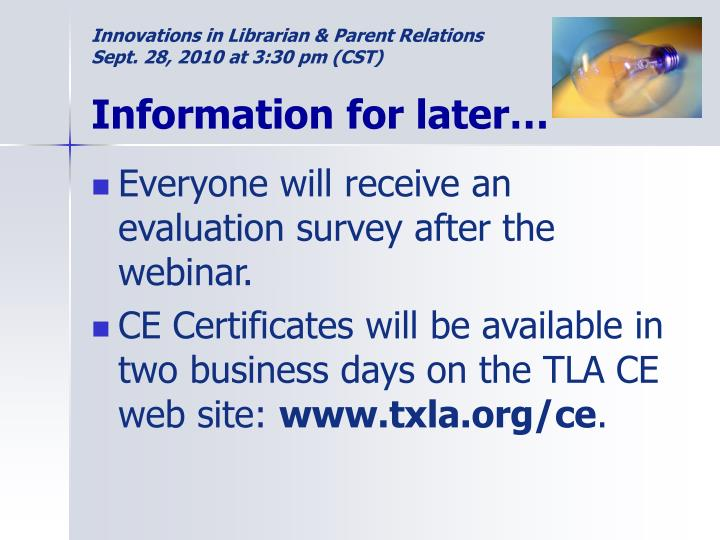 Innovations in librarian parent relations sept 28 2010 at 3 30 pm cst information for later