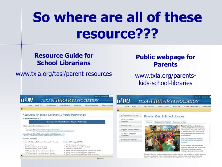 So where are all of these resource???