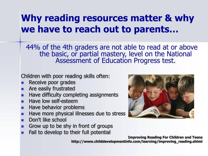 Why reading resources matter & why we have to reach out to parents…