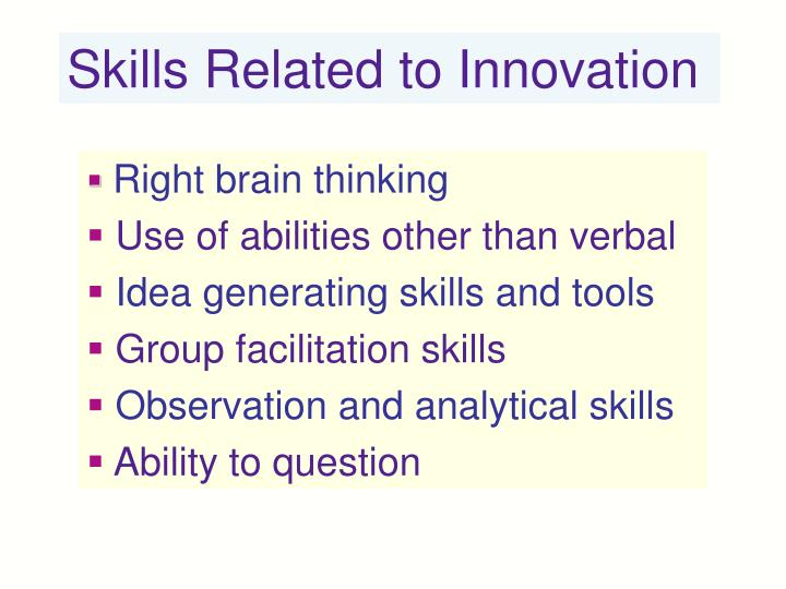 Skills Related to Innovation