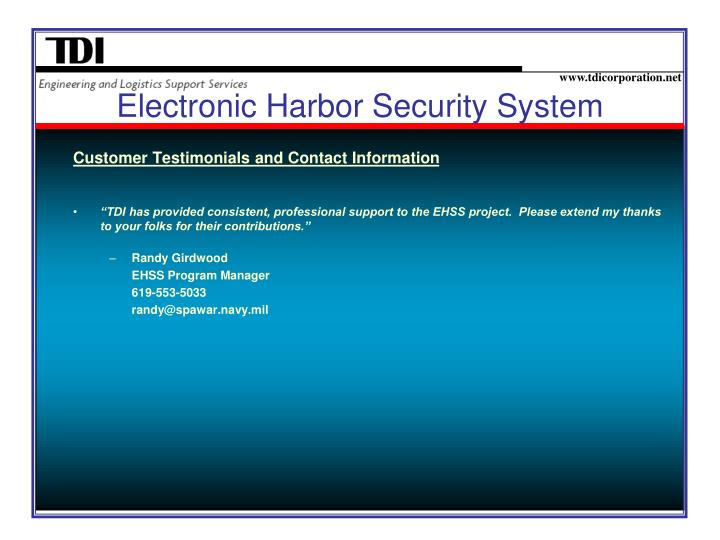 Electronic Harbor Security System