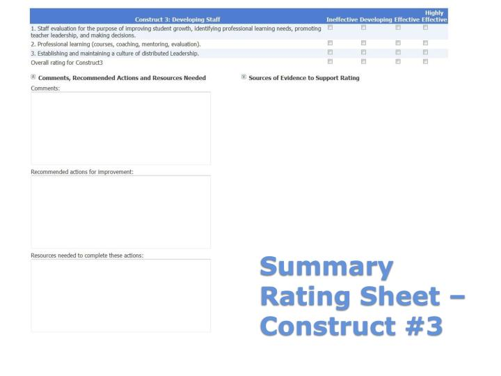 Summary Rating Sheet – Construct #3