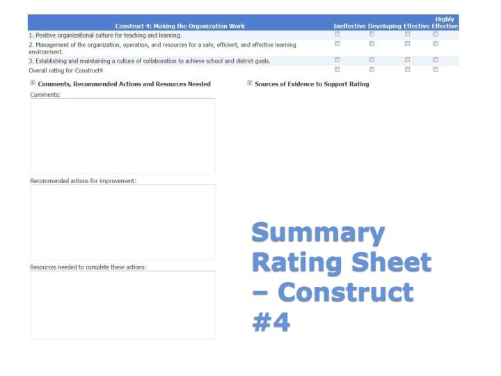 Summary Rating Sheet – Construct #4