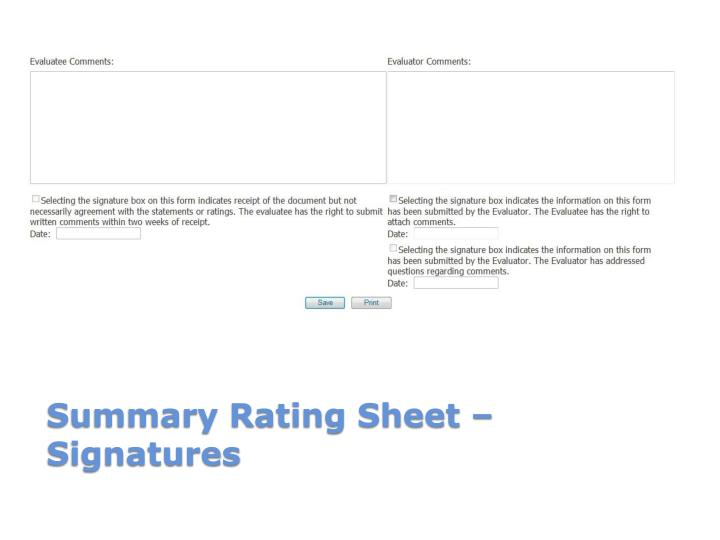 Summary Rating Sheet – Signatures