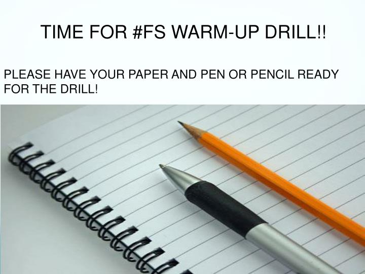 TIME FOR #FS WARM-UP DRILL!!