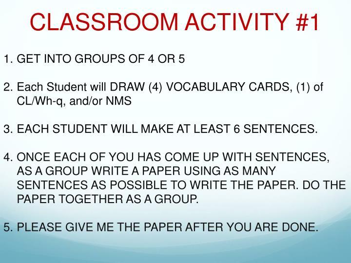 CLASSROOM ACTIVITY #1