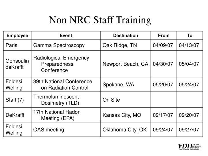 Non NRC Staff Training