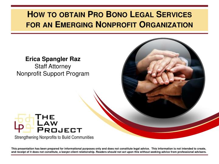 how to obtain pro bono legal services for an emerging nonprofit organization n.
