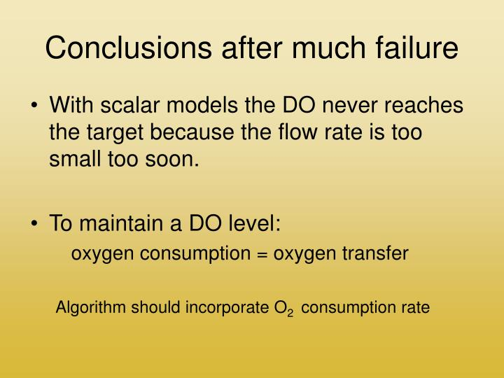 Conclusions after much failure