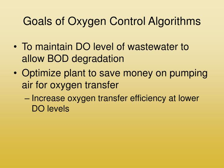 Goals of oxygen control algorithms