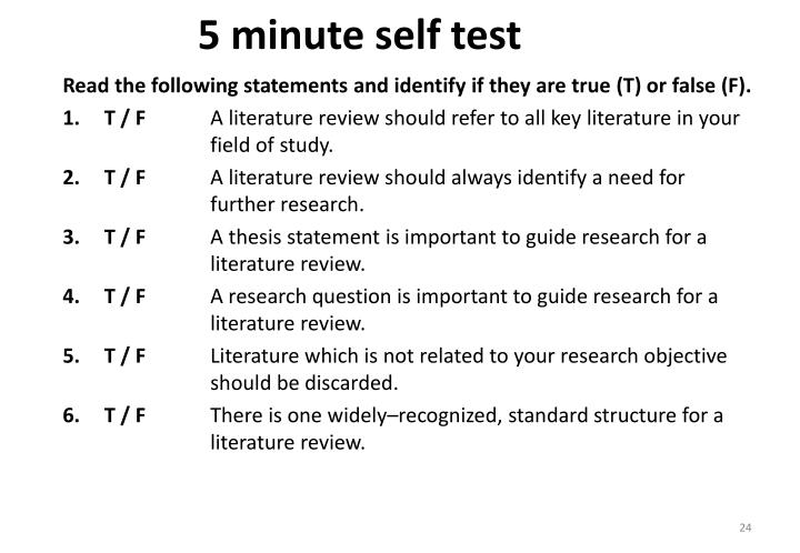 5 minute self test