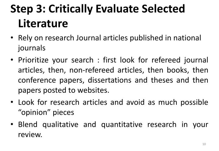 Step 3: Critically Evaluate Selected Literature