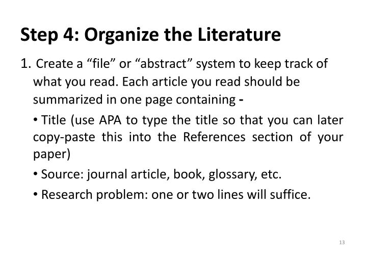 Step 4: Organize the Literature