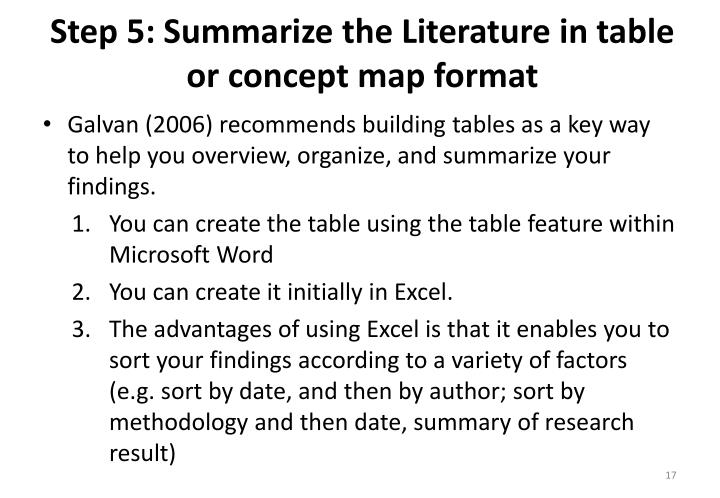 Step 5: Summarize the Literature in table or concept map