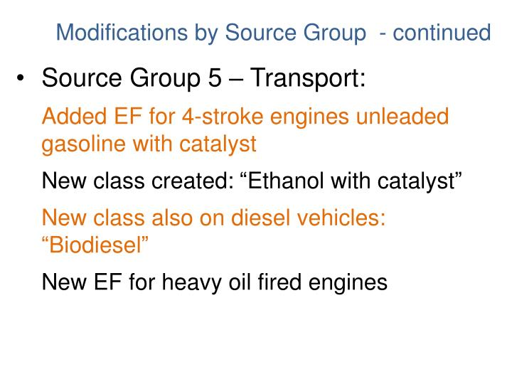 Source Group 5 – Transport: