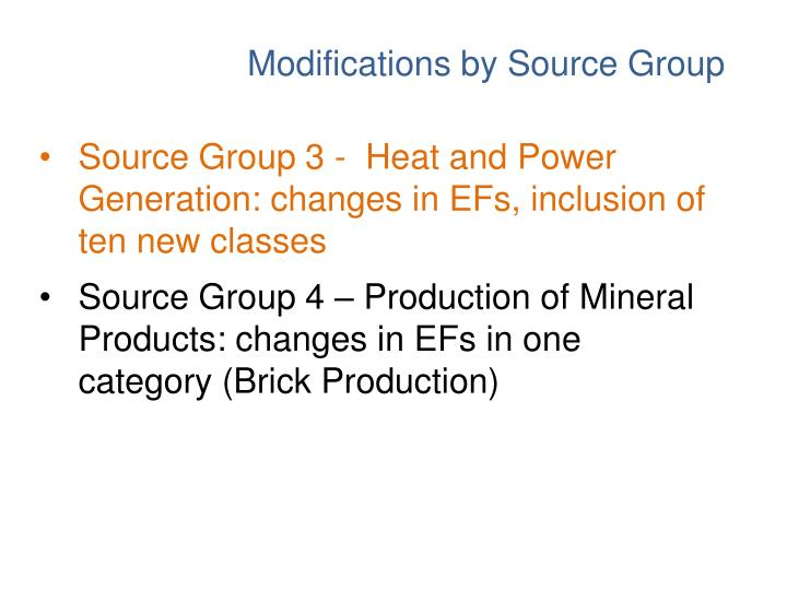 Source Group 3 -  Heat and Power Generation: changes in EFs, inclusion of ten new classes