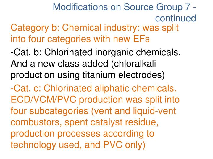 Category b: Chemical industry: was split into four categories with new EFs