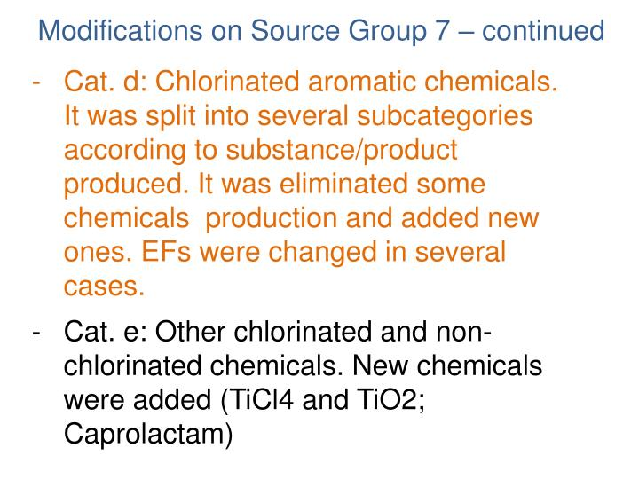 Cat. d: Chlorinated aromatic chemicals. It was split into several subcategories according to substance/product produced. It was eliminated some chemicals  production and added new ones. EFs were changed in several cases.