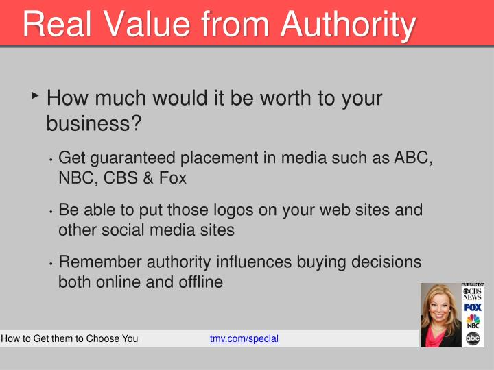Real Value from Authority