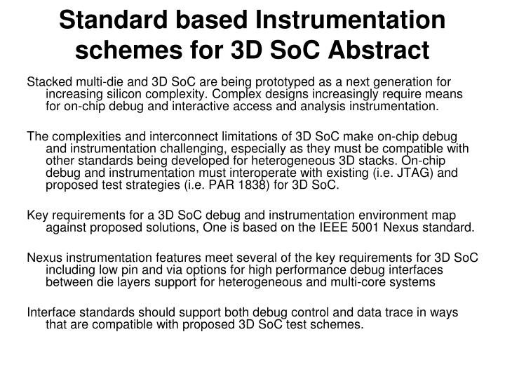 Standard based instrumentation schemes for 3d soc abstract