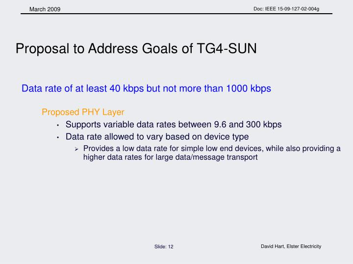Proposal to Address Goals of TG4-SUN