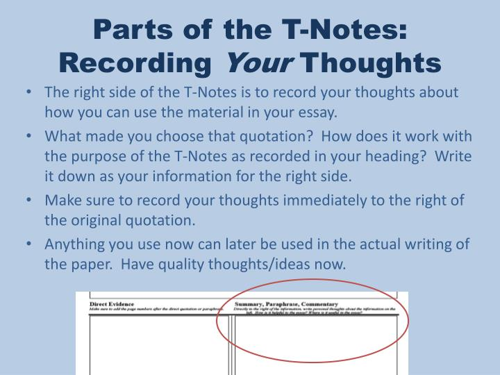 Parts of the T-Notes:
