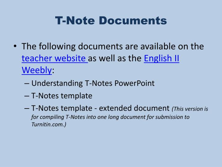 T-Note Documents