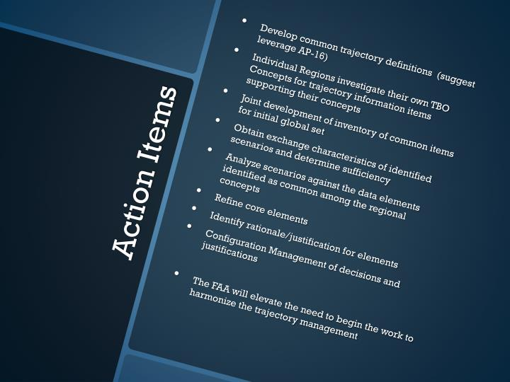 Develop common trajectory definitions  (suggest leverage AP-16)