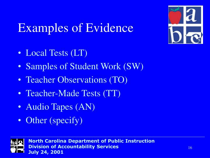 Examples of Evidence