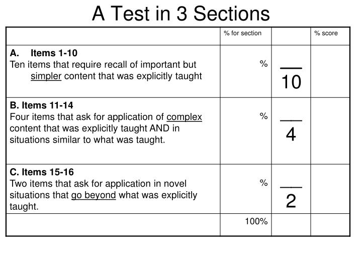 A Test in 3 Sections