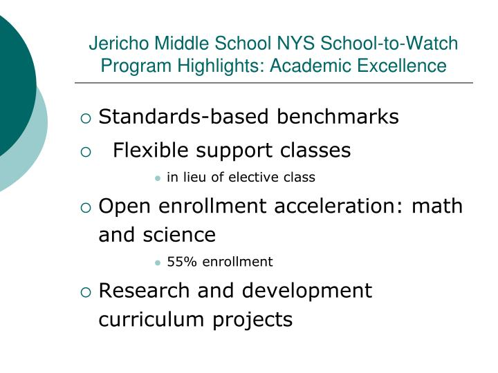 Jericho Middle School NYS School-to-Watch