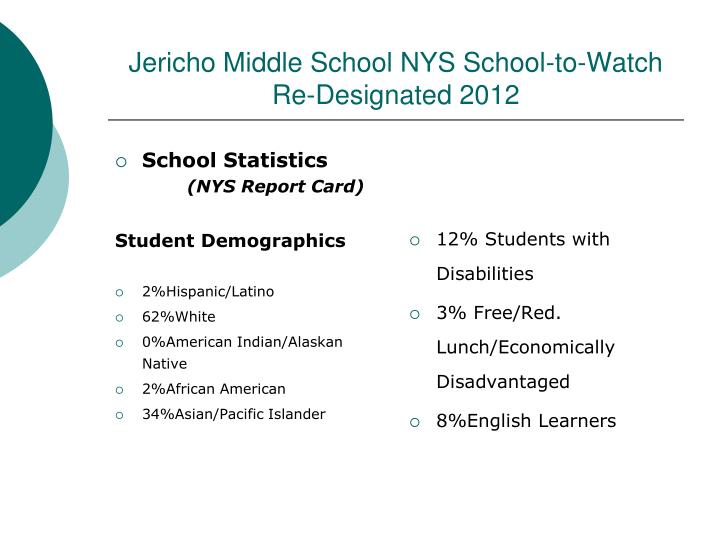 Jericho middle school nys school to watch re designated 2012