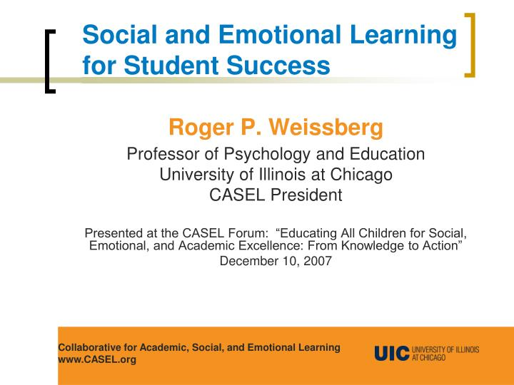Social and Emotional Learning for Student Success