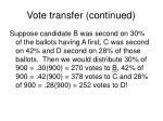 vote transfer continued
